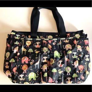 LESPORTSAC animal navy baby tote travel bag EUC